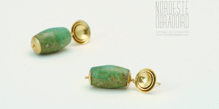 pendientes de oro y gemas hechos a mano en Santiago de Compostela